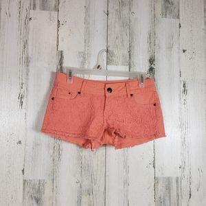 5/$25 orange crochet raw hem shorts size 3